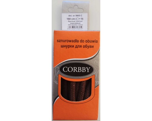 Corbby шнурки круглые, толстые 180 см