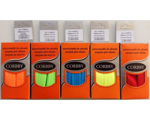 Corbby шнурки плоские 120 см (яркие)