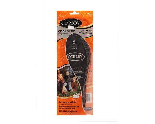 Corbby демисезонные стельки с  активированным углем ODOR STOP BLACK
